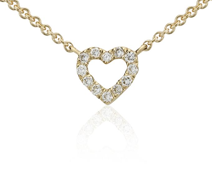 Collar de diamantes pequeño con forma de corazón en oro amarillo de 14k