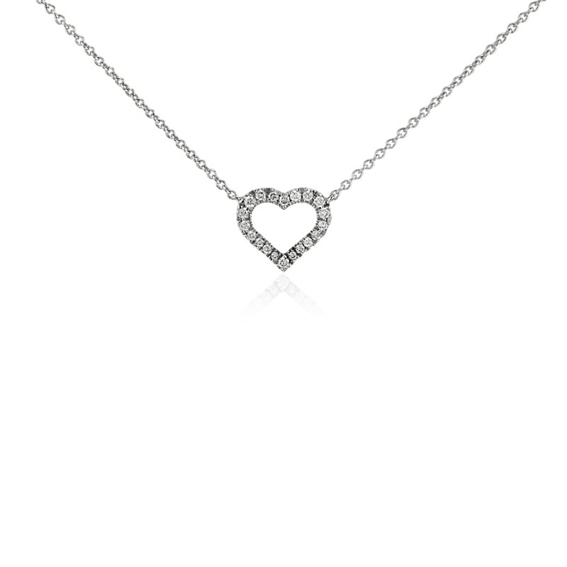 Mini Heart Diamond Pendant in 14k White Gold (1/10 ct. tw.)