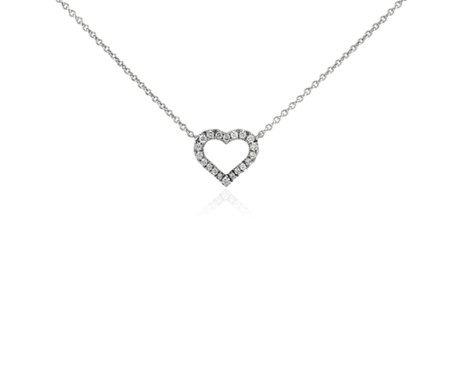 Mini heart diamond pendant in 14k white gold 110 ct tw blue nile mini heart diamond pendant in 14k white gold 110 ct tw aloadofball