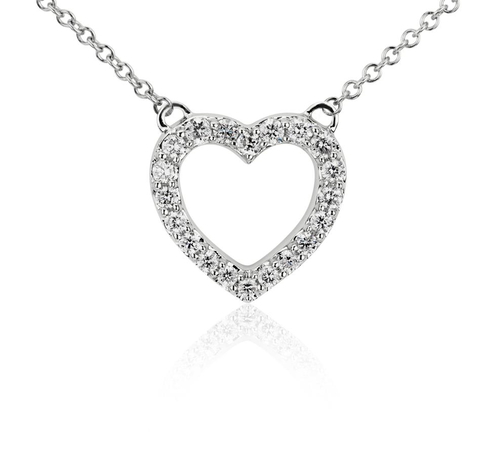 Mini pendentif cœur diamant en or blanc 14carats