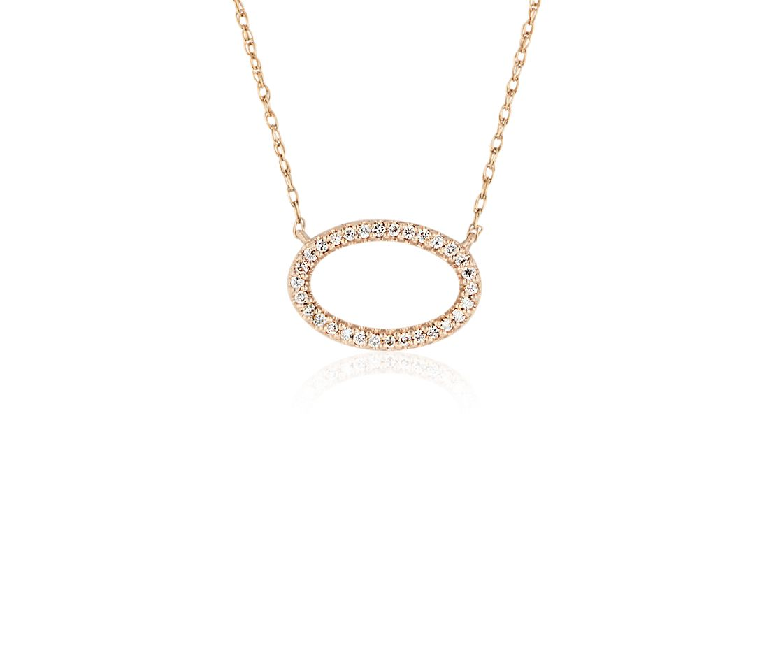 Mini Open Oval Diamond Necklace in 14k Rose Gold (1/10 ct. tw.)
