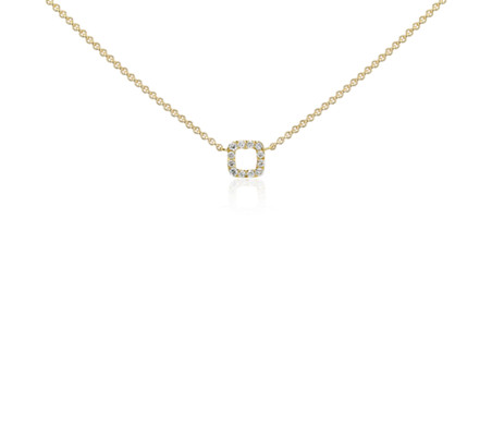 Blue Nile Mini Square Pendant in 14k Yellow Gold fyFcz