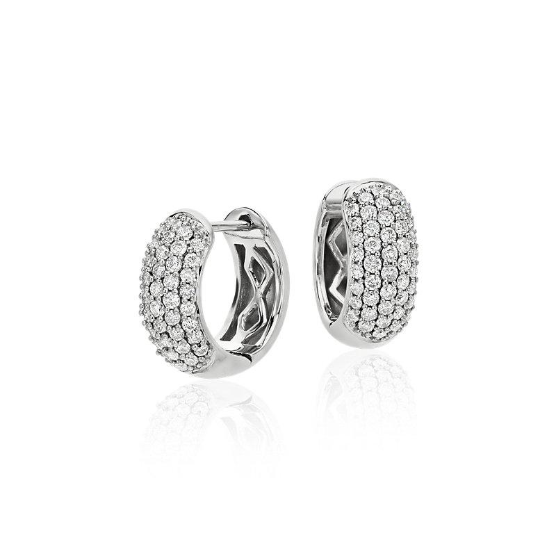Diamond Pavé Hoop Earrings in 14k White Gold (5/8 ct. tw.)