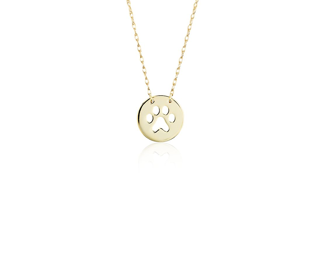 Mini Paw Print Necklace in 14k Yellow Gold