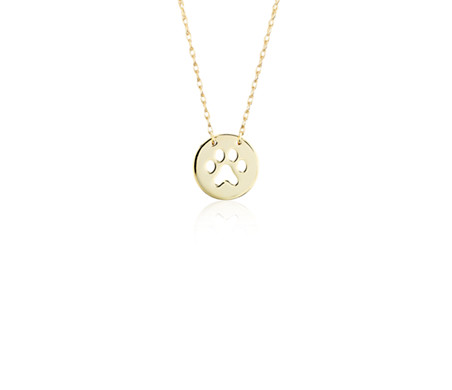 Mini paw print necklace in 14k yellow gold blue nile mini paw print necklace in 14k yellow gold aloadofball