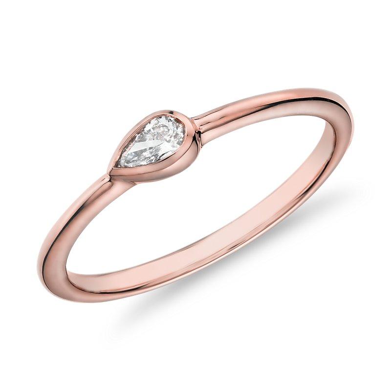Mini Pear Shape Diamond Fashion Ring in 14k Rose Gold (1/10 ct. t
