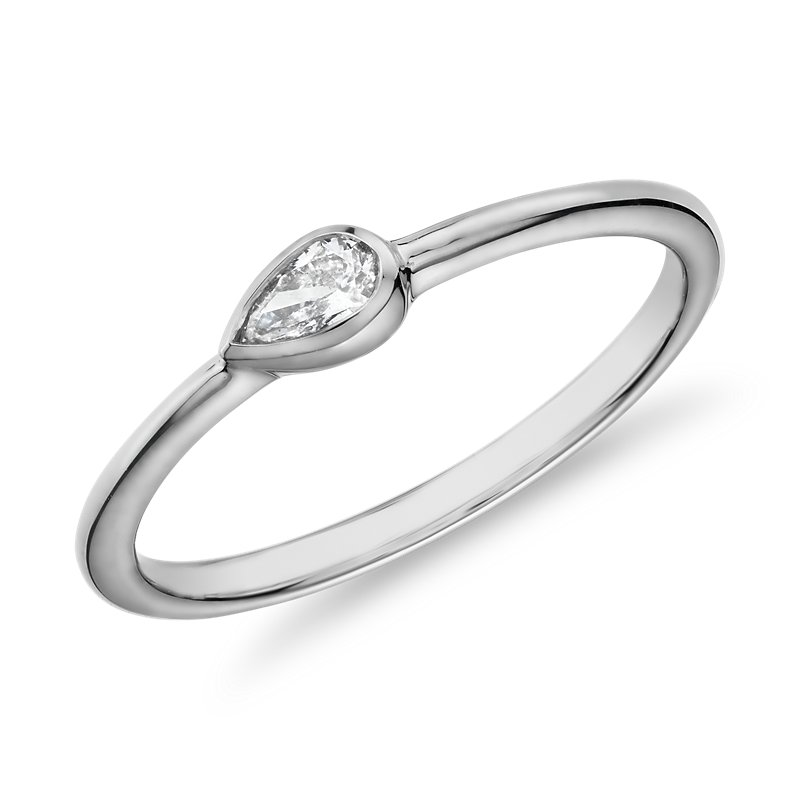 Mini Pear Shape Diamond Fashion Ring in 14k White Gold (1/10 ct.