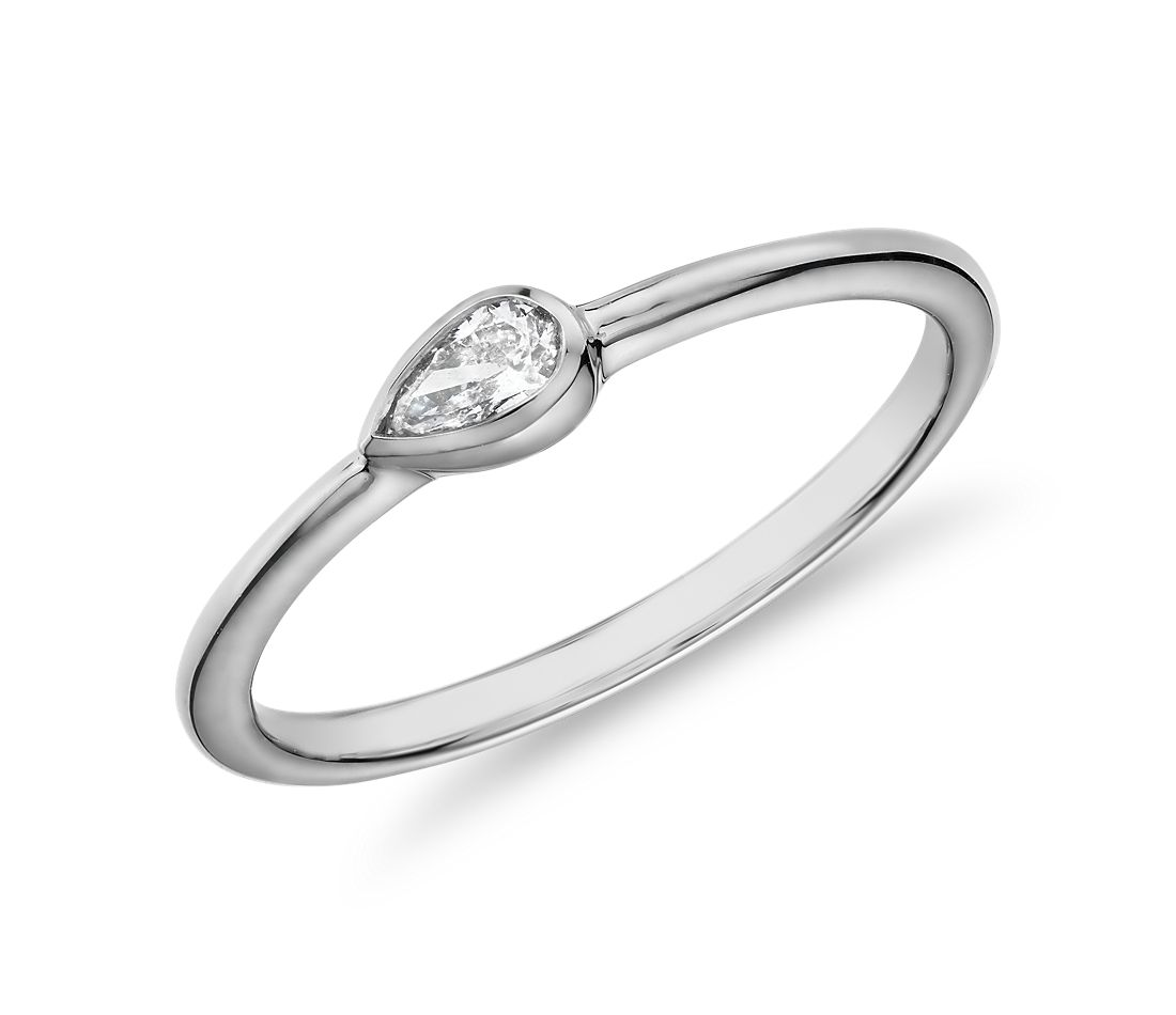 Mini Pear Shape Diamond Fashion Ring in 14k White Gold (1/10 ct. tw.)