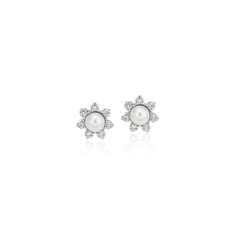 Mini Pearl Earrings with Diamond Blossom Halo in 14k White Gold