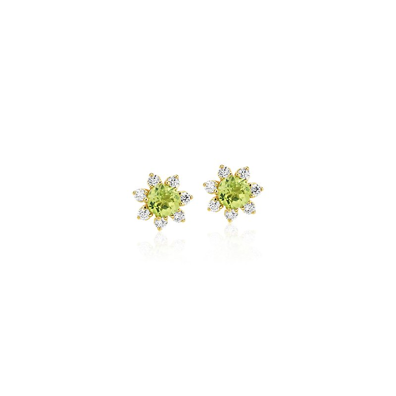 Mini Peridot Earrings with Diamond Blossom Halo in 14k Yellow Gol