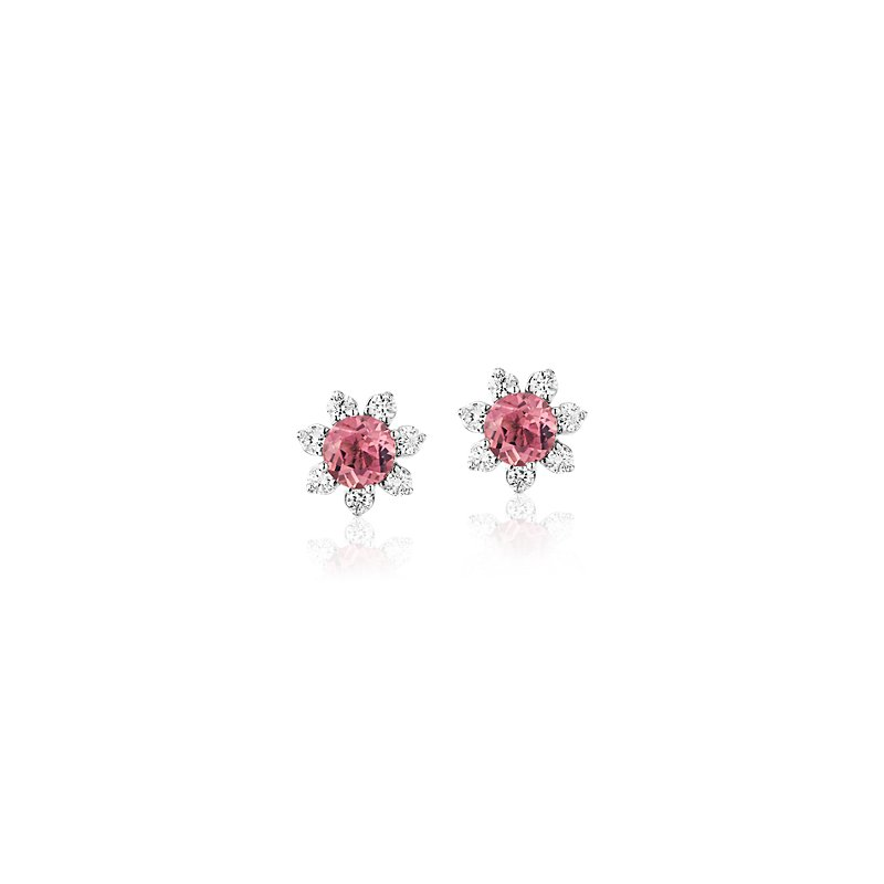 Mini Pink Tourmaline Earrings with Diamond Blossom Halo in 14k Wh