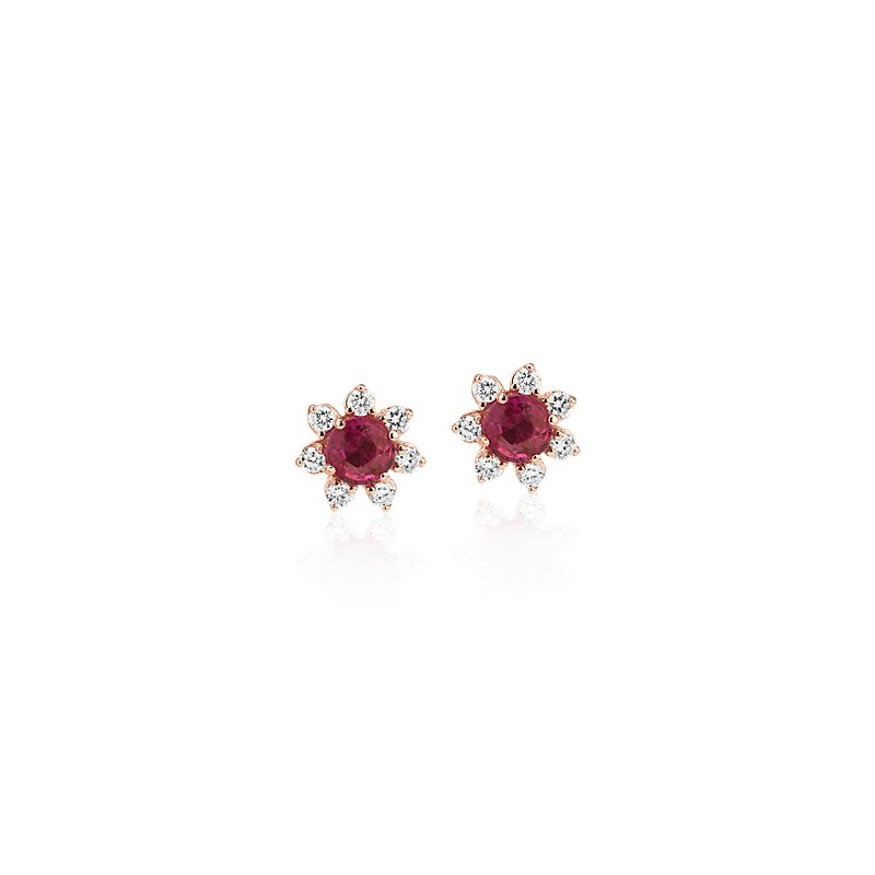 Mini Ruby Earrings with Diamond Blossom Halo in 14k Rose Gold (3.