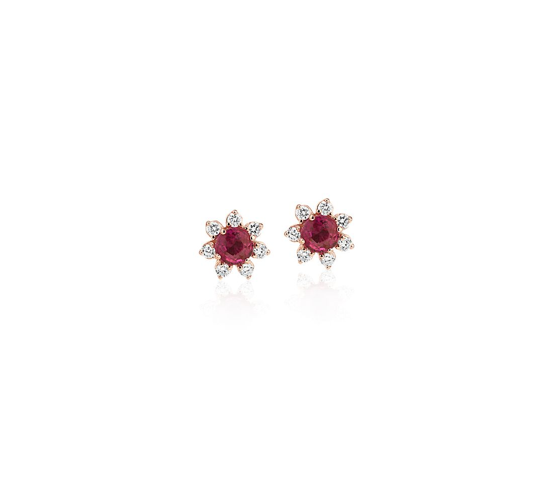 Mini Ruby Earrings with Diamond Blossom Halo in 14k Rose Gold (3.5mm)