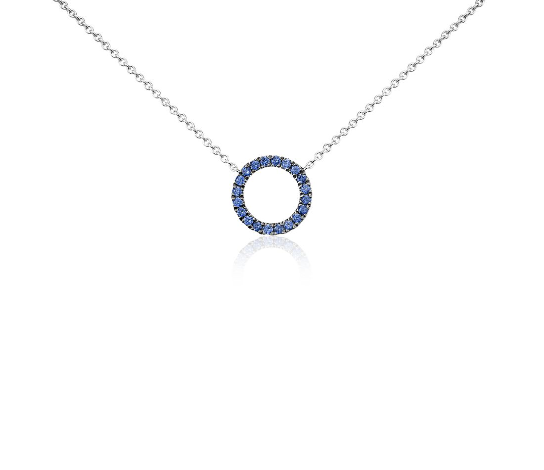 Mini Sapphire Circle Pendant in 14k White Gold (1mm)