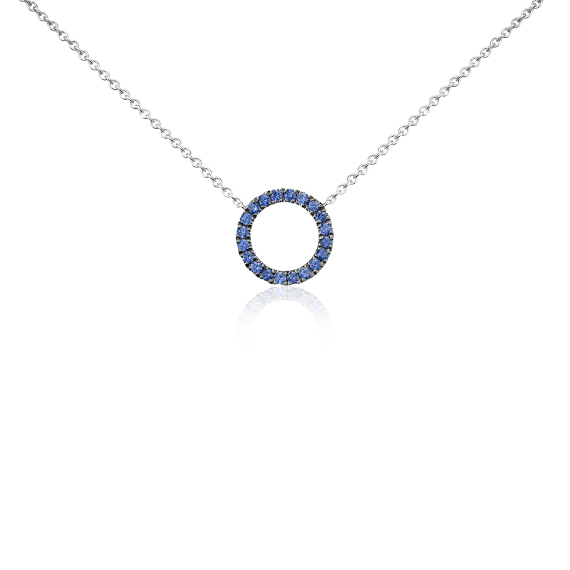 Mini Sapphire Circle Pendant in 14k White Gold (1mm)