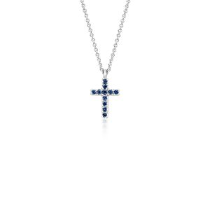 Mini Sapphire Cross Pendant in 14k White Gold (1.25mm)