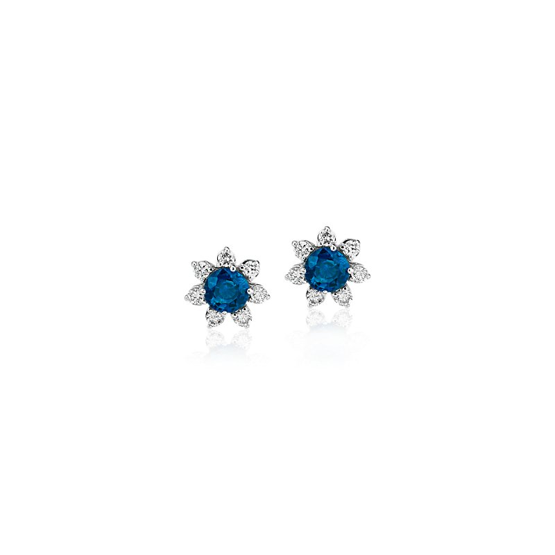 Mini Sapphire Earrings with Diamond Blossom Halo in 14k White Gold (3.5mm)