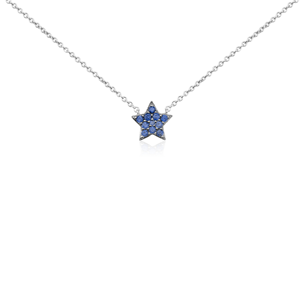 Mini Sapphire Star Pendant in 14k White Gold (1mm)