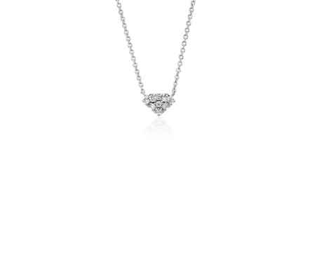 Mini Diamond Shaped Diamond Necklace in 14k White Gold