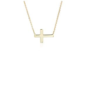 NEW Mini Sideways Cross Necklace in 14k Yellow Gold