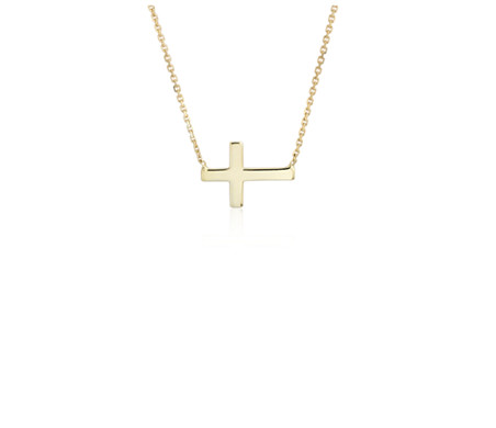 Mini Sideways Cross Necklace in 14k Yellow Gold