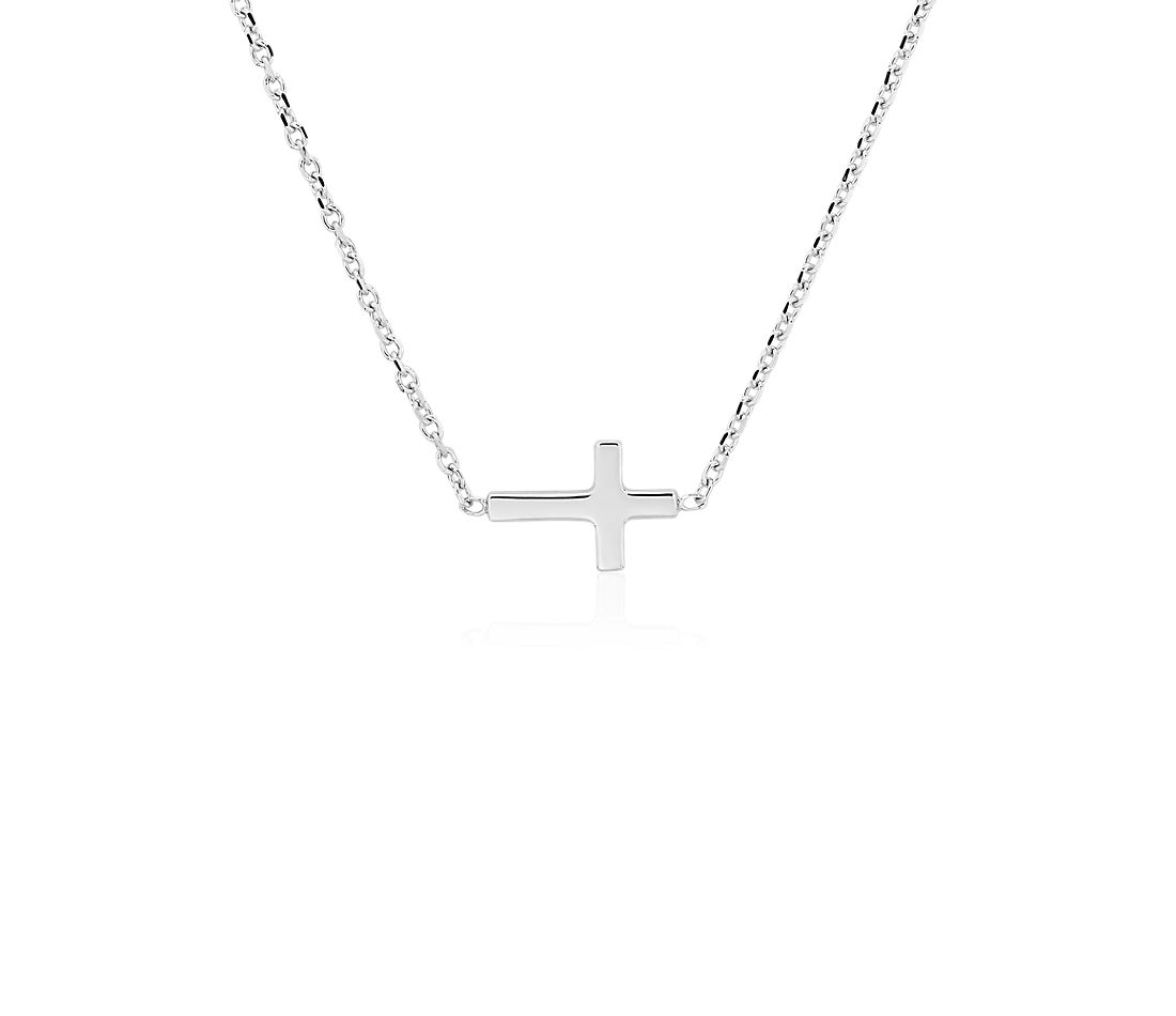 Mini Sideways Cross Necklace in 14k White Gold