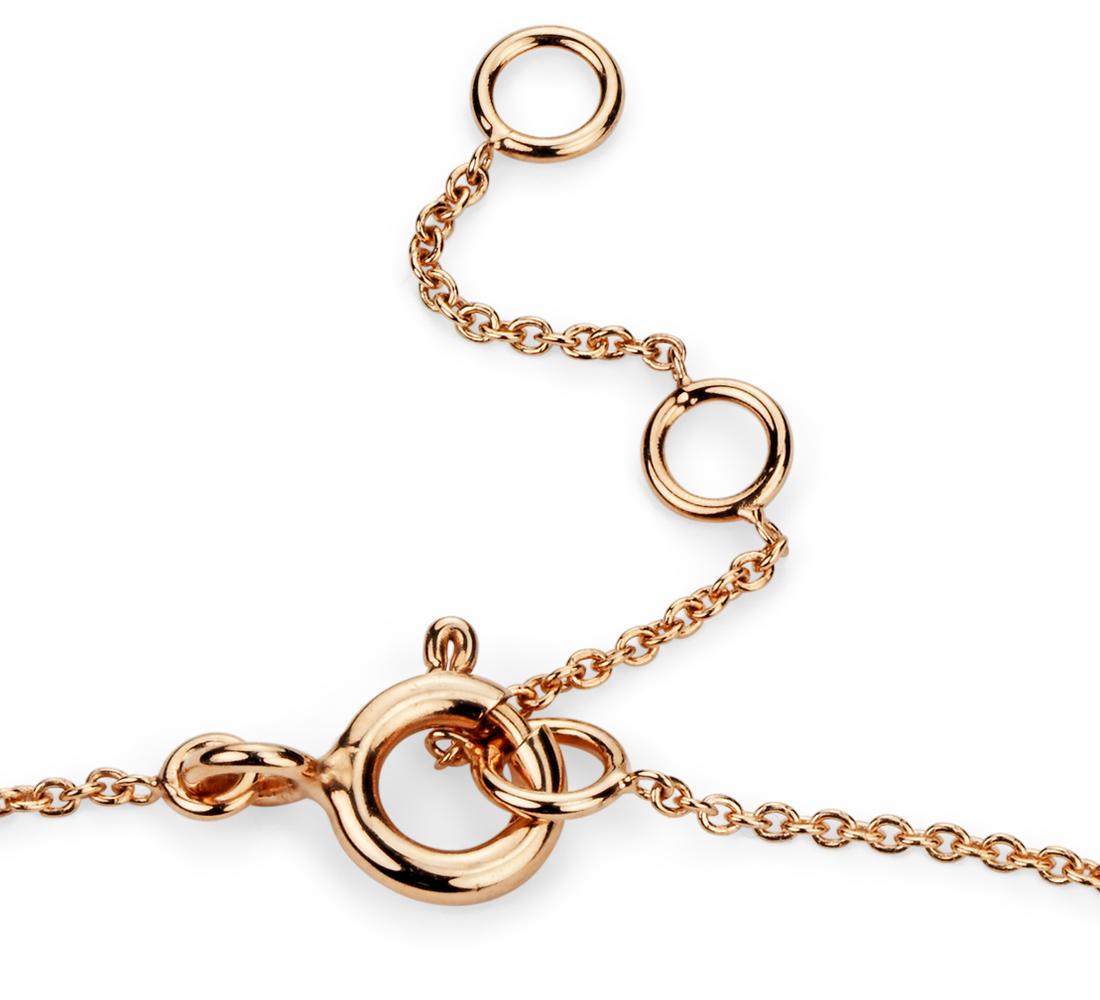 Petit bracelet diamants barre en or rose 14carats