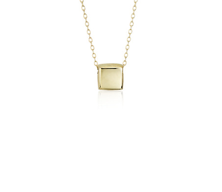 Blue Nile Mini Square Pendant in 14k Yellow Gold