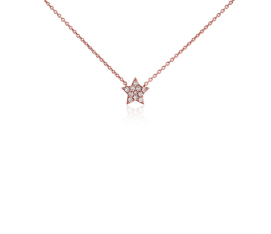 Mini Star Diamond Necklace in 14k Rose Gold