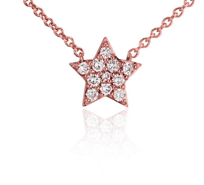 Collier mini étoile en diamant en or rose 14 carats