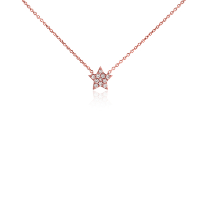 Mini Star Diamond Necklace 14k Rose Gold