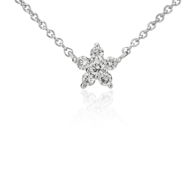 Mini Star Diamond Pendant in 14k White Gold (1/10 ct. tw.)