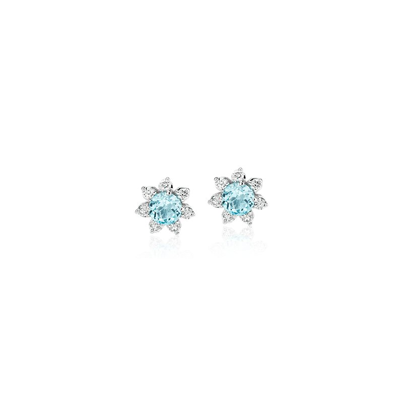 Mini Swiss Topaz Earrings with Diamond Blossom Halo in 14k White