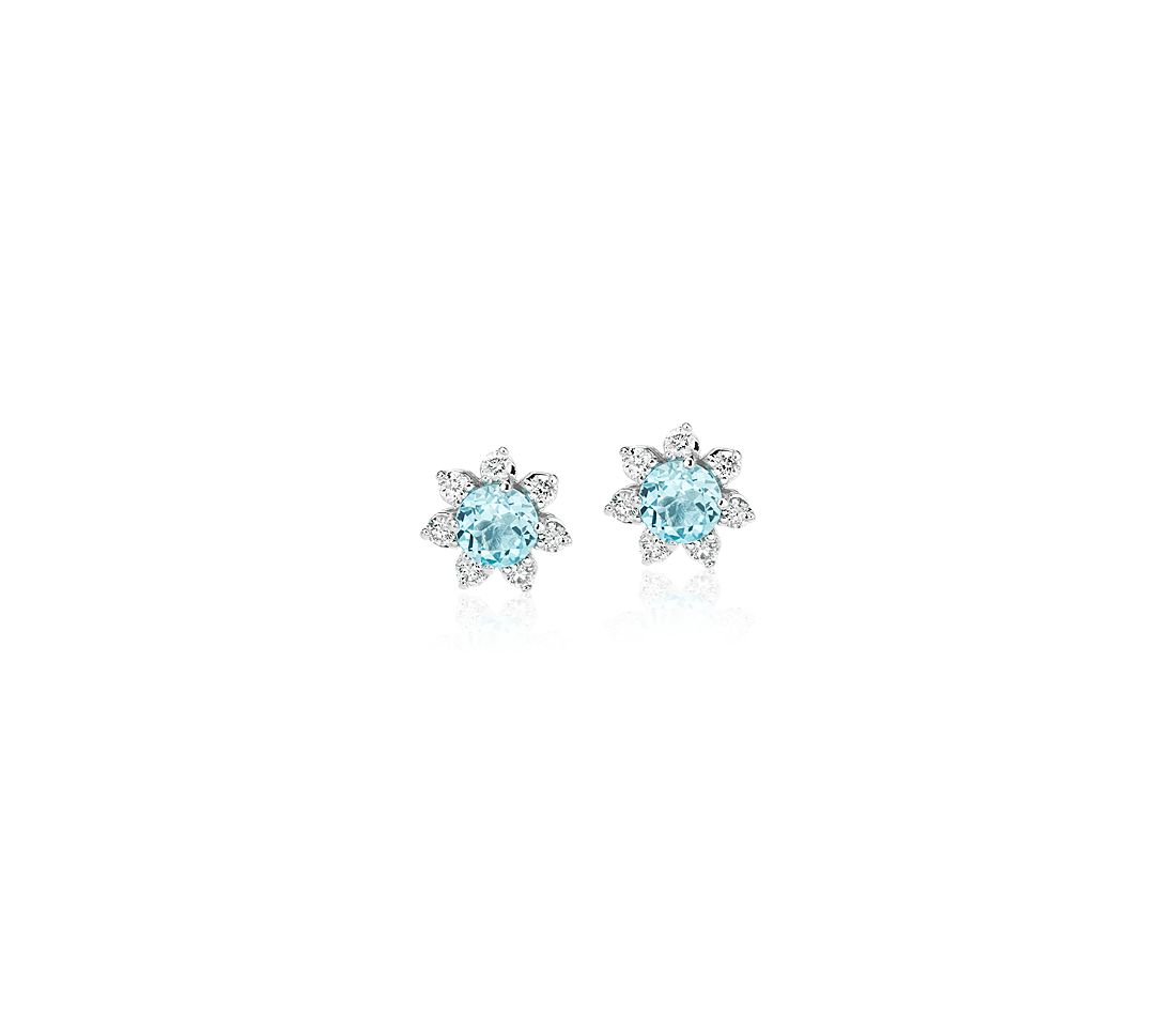 Mini Swiss Topaz Earrings with Diamond Blossom Halo in 14k White Gold (3.5mm)