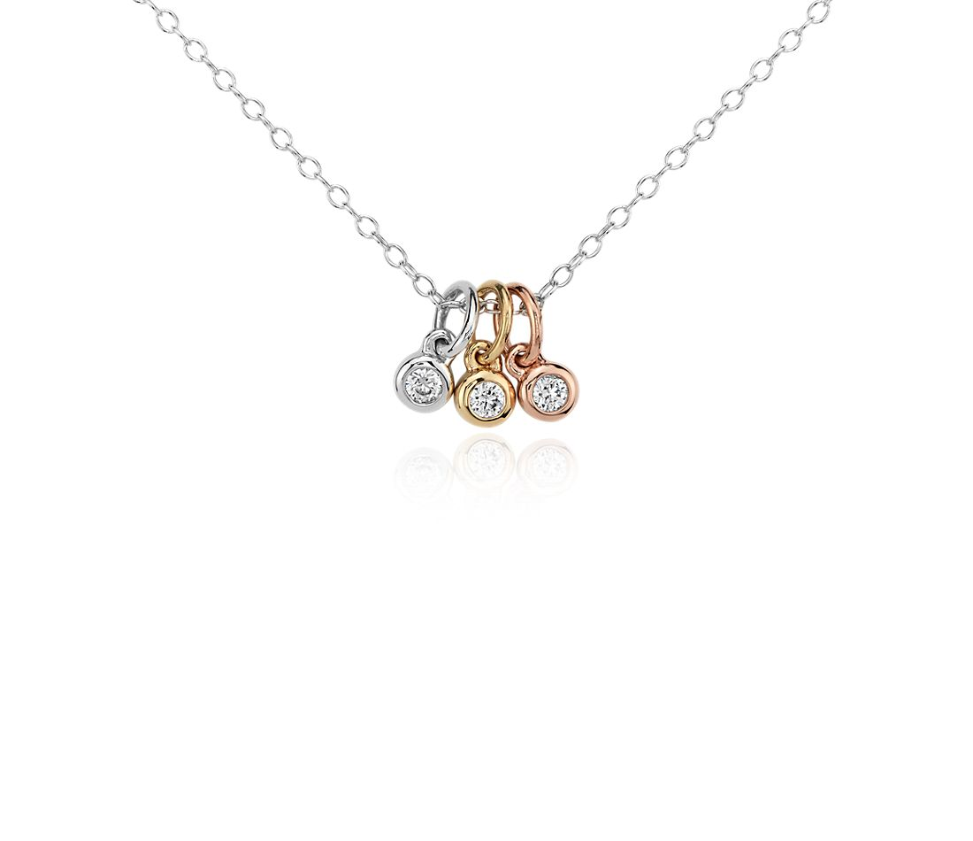 Mini Trio Diamond Bezel Pendant In 14k Tri Color Gold 1