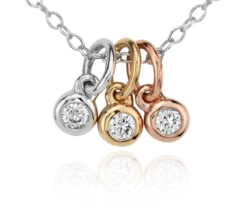 Petit pendentif clos diamant trio en or tricolore 14carats (1/10carat, poids total)