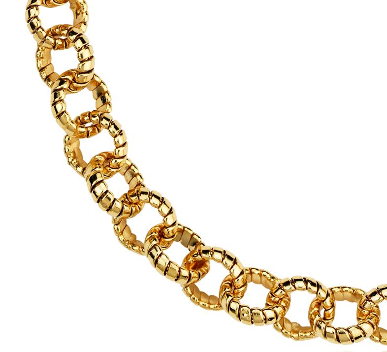 Collar pequeño tipo pechera con eslabones Tubogas en oro amarillo de 14k