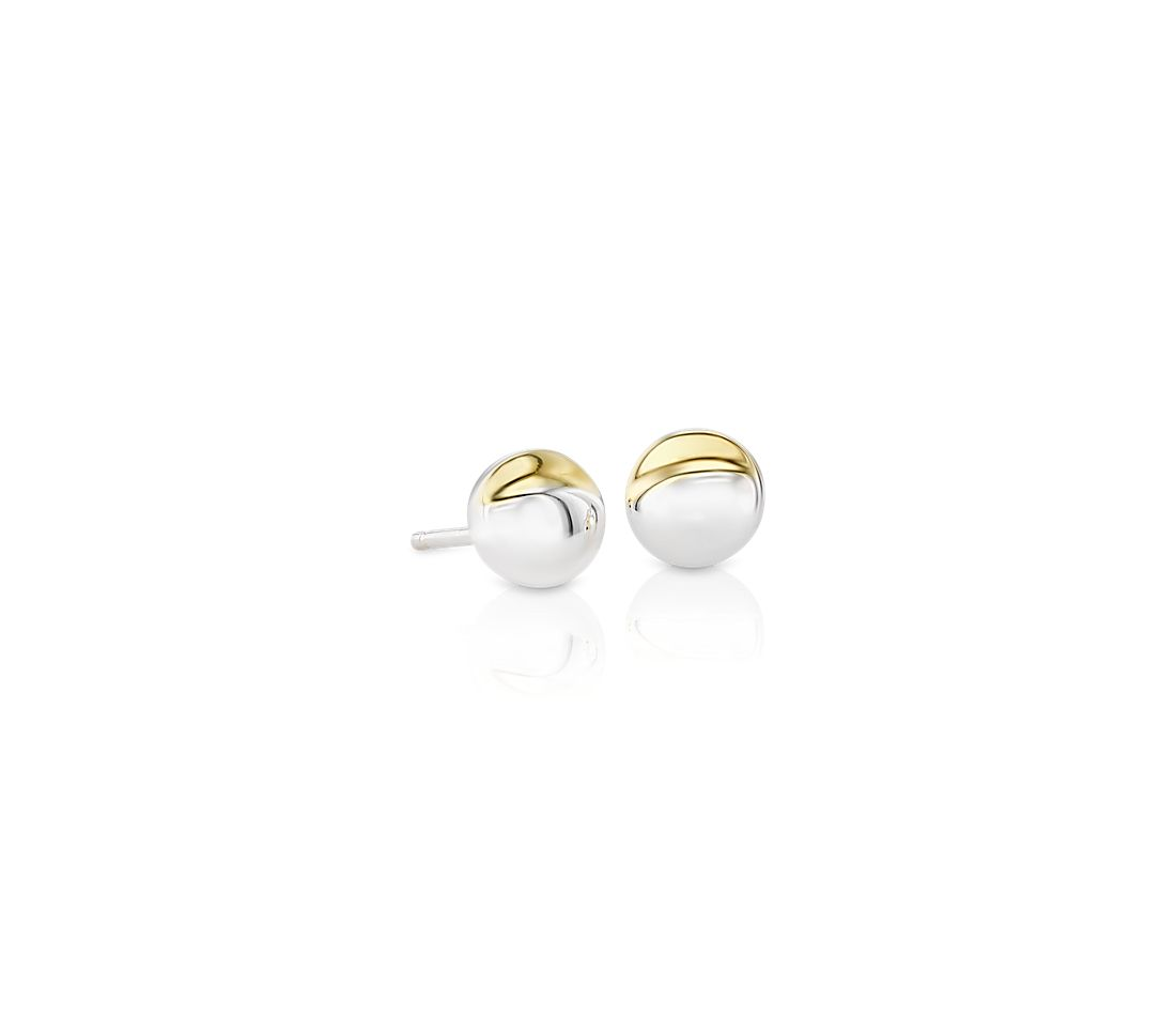 Mini Two Tone Moon Stud Earrings In Sterling Silver And Yellow Gold Vermeil