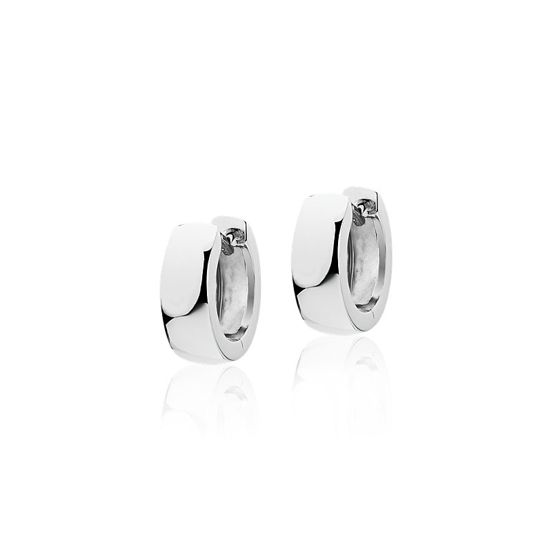 "Mini Wide Huggie Hoop Earrings in 14k White Gold (1/2"")"