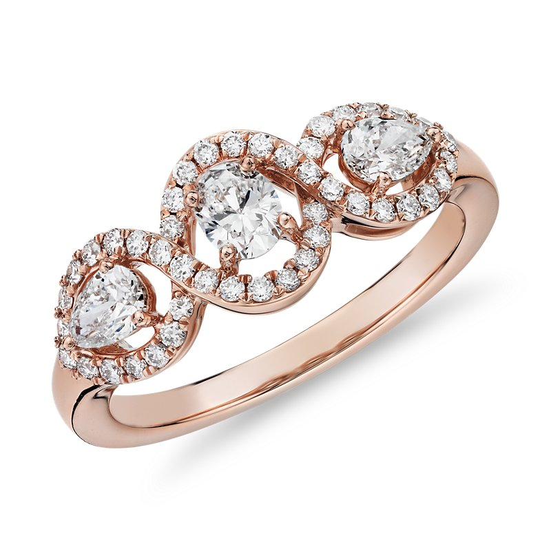 Mixed Fancy Shape Diamond Halo Fashion Ring in 14k Rose Gold (3/4