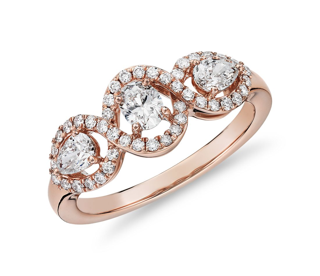 Mixed Fancy Shape Diamond Halo Fashion Ring in 14k Rose Gold (3/4 ct. tw.)