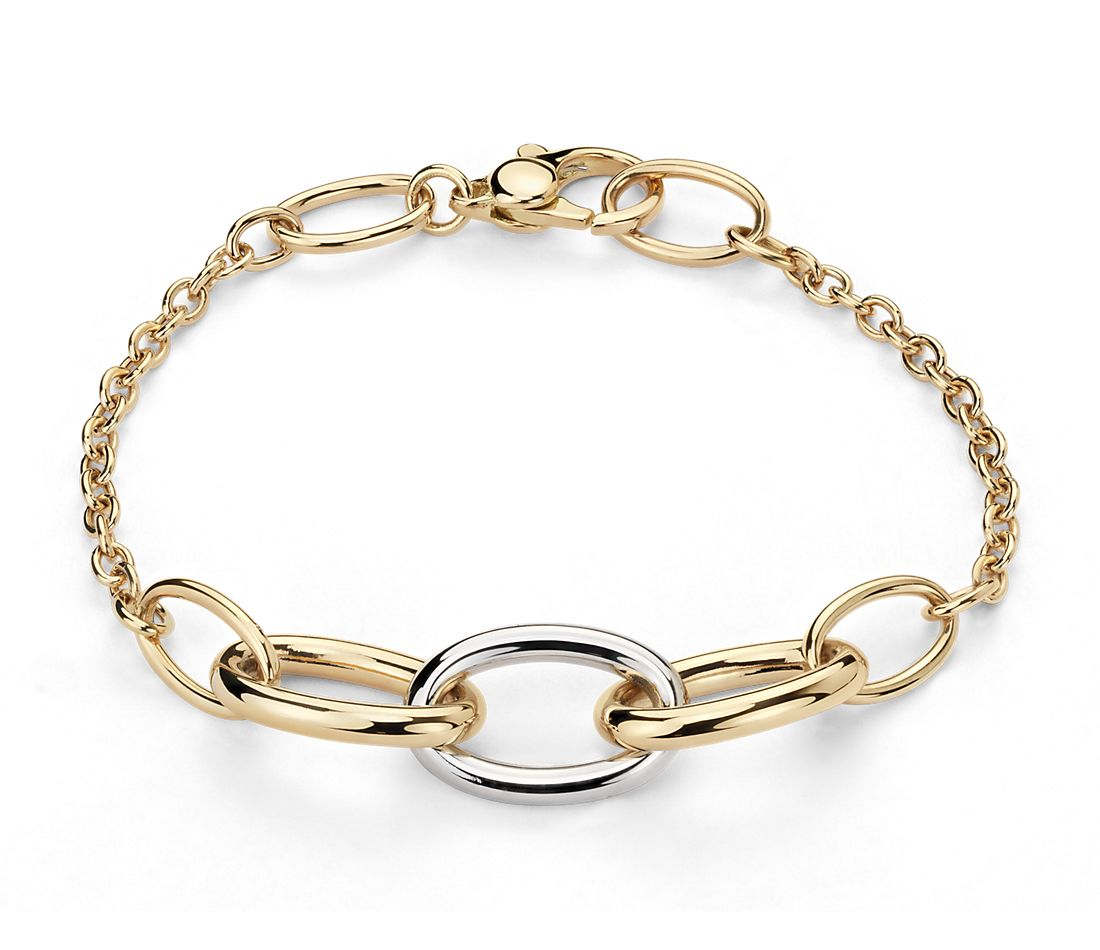 mixed link two tone bracelet in 18k yellow and white gold. Black Bedroom Furniture Sets. Home Design Ideas