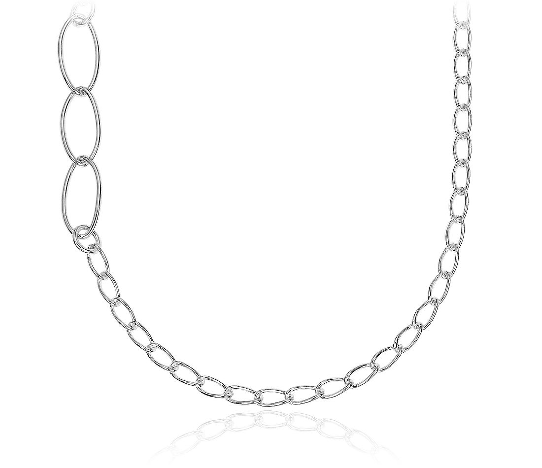 Mixed Link Long Layering Necklace in Sterling Silver