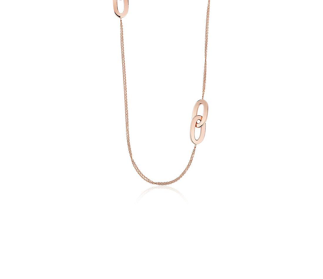 "Mixed Link Necklace in 18k Italian Rose Gold (34"")"