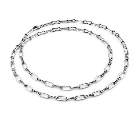"Bold Long and Layered Mixed Link Necklace in Sterling Silver (36"")"
