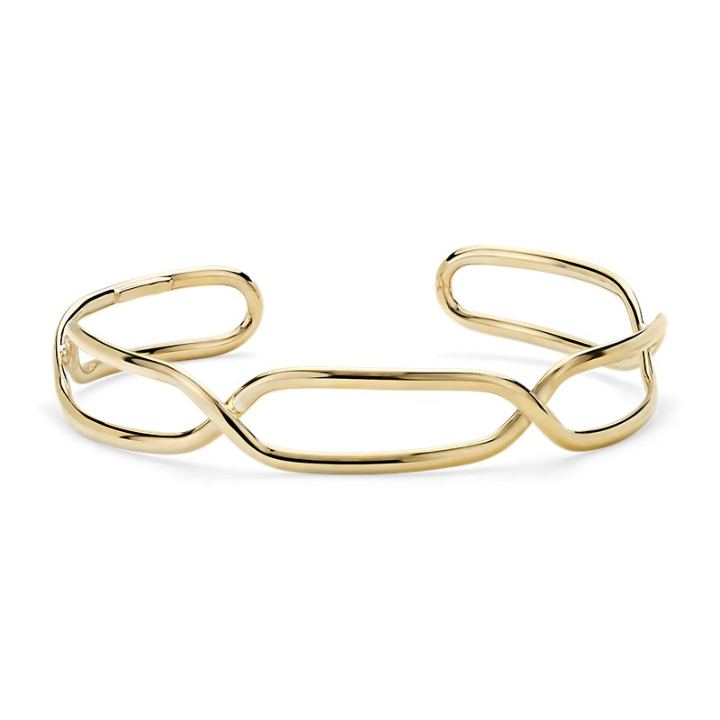 Mixed Link Twisted Cuff in 14k Italian Yellow Gold