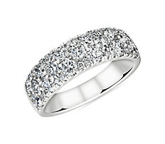 NEW Sleek Diamond Dome Wedding Ring in 18k White Gold (1.53 ct. tw.)