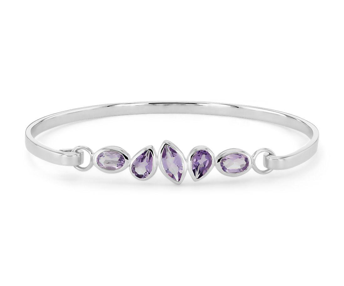 925 純銀 混合形狀紫水晶手鐲