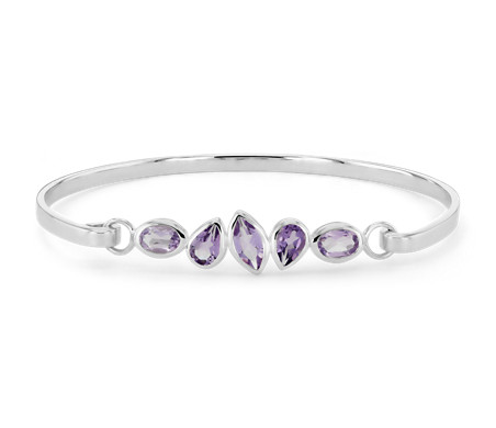 Mixed Shape Amethyst Bangle in Sterling Silver