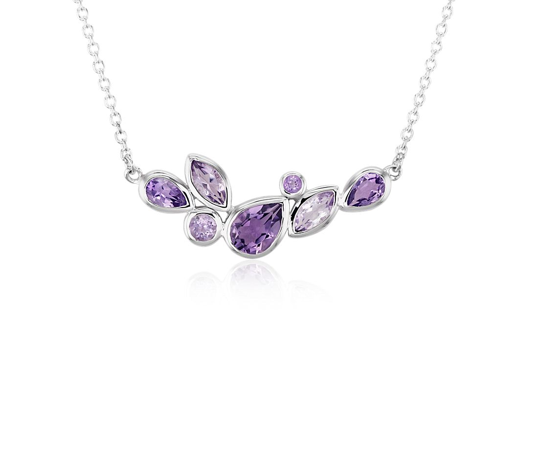 Mixed Shape Amethyst Necklace In Sterling Silver Blue Nile